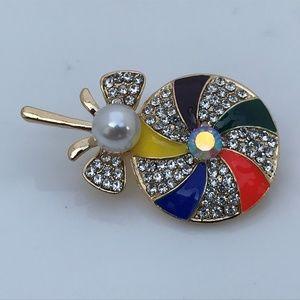 Jewelry - Pin Brooch Multi-Color Enamel Crystal Cute Lollipo